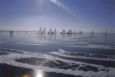 Lake Neusiedl with Ice-Sailors in Winter, Burgenland