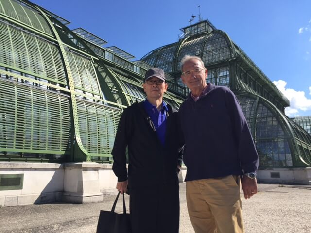 Bohrer and Crew Member in front of Palmenhaus